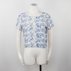 Laila & Savannah Anthro Floral Print Silk Crop Top